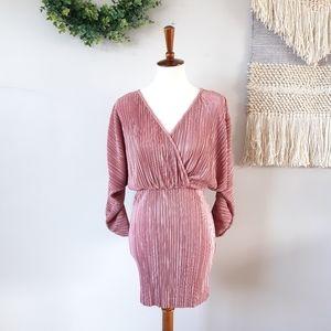 ASOS | Batwing Mini Plisse Dress - Dusty Rose
